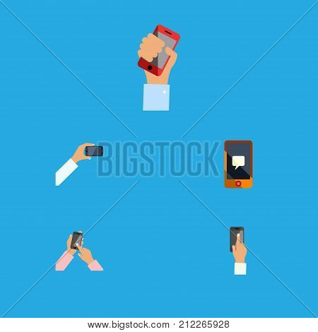 Flat Icon Touchscreen Set Of Cellphone, Chatting, Touchscreen And Other Vector Objects