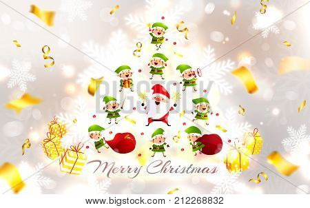 Santa Claus Christmas Elves Snowflakes Christmas tree and Gifts. Blurred white silver background with golden serpentine. Christmas collection. New Year vector illustration