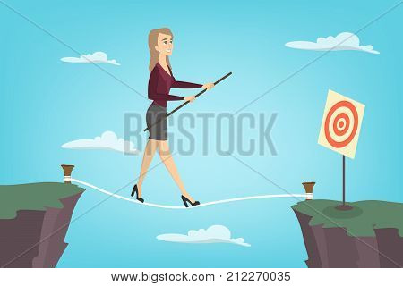 Businesswoman tightrope walker. Idea of risky and courage business.