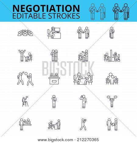 Negogiation skills ouline vector icons. Editable strokes. Business meeting signs set. Negogiation business concept thin line icons. Agreement logo set