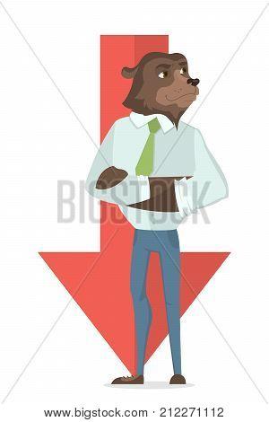 Bear stock market. Red arrow goes down. Bear businessman.
