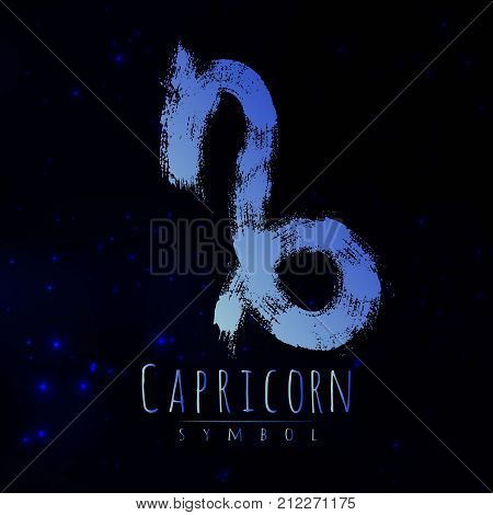Vector abstract zodiac sign Capricorn on a dark cosmic background of the space with shining stars. Nebula in form of zodiac sign Capricorn Abstract brush stroke sign. Bright modern gradient symbol
