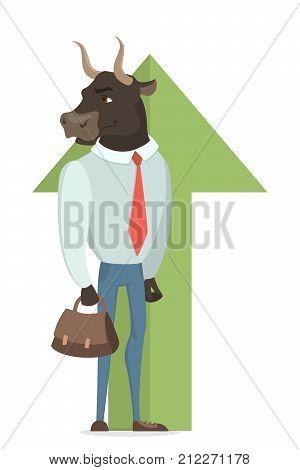 Bull stock market. Green arrow goes up. Bull businessman.