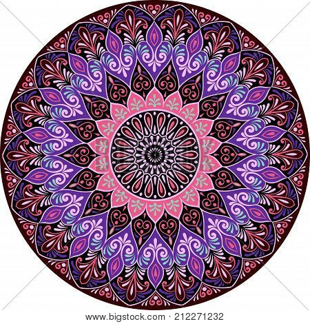 Drawing of a floral mandala in pink, violet and black colors on a white background. Hand drawn tribal vector stock illustration