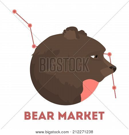 Bear stock market. Idea of falling prices and crisis.