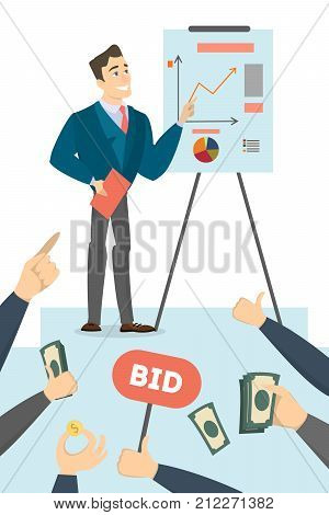 Man with business plan and data board. Audience with money, questions and bid.