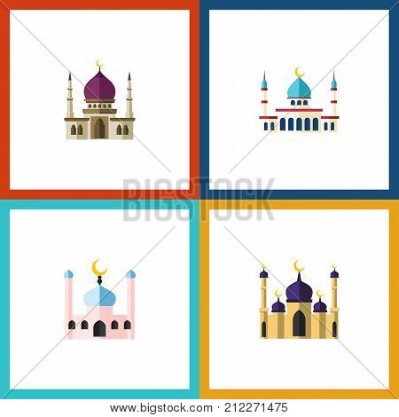 Flat Icon Mosque Set Of Muslim, Mosque, Islam And Other Vector Objects