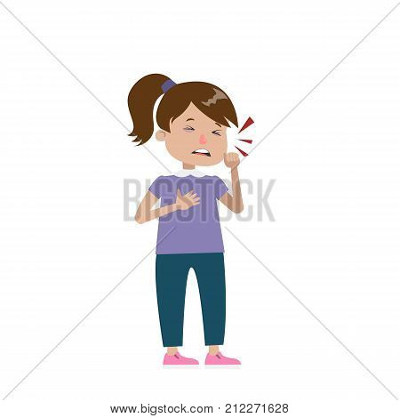 Isolated sick coughing girl on white background.