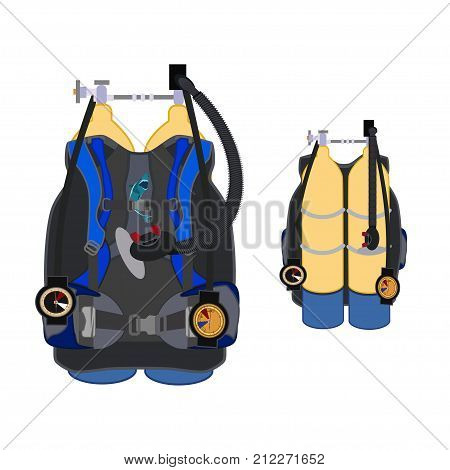 Aqualung for diving vector illustration. Scuba underwater diving equipment, flat style design.