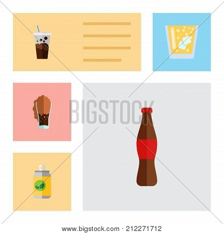Flat Icon Drink Set Of Soda, Lemonade, Carbonated And Other Vector Objects