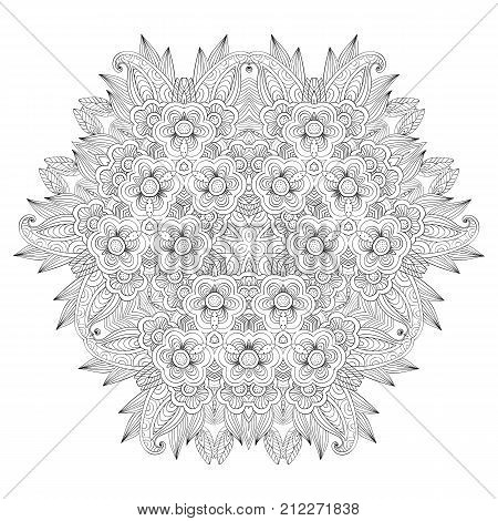 Grafic round lace pattern, doodle ornament, round lace pattern, vector design