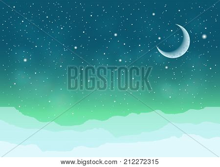 Emerald background with polar Northern Lights, moon and glaciers.