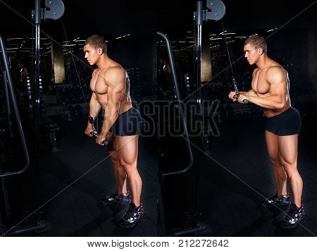 Bodybuilding concept. Tutorial. Muscular man doing exercise for triceps in gym. Fitness man show how to do exercise triceps pushdown with grip flip. Master class