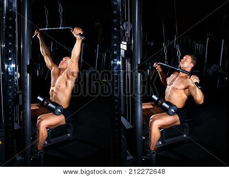 Bodybuilding concept. Exercises tutorial. Muscular man doing exercise for back with lat pulldown cable machine in gym. Fitness man show how to do thrust of the upper block to the chest. Master class