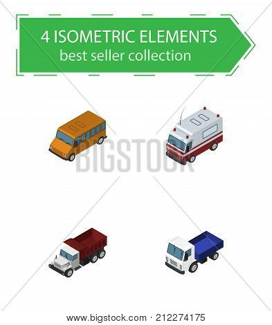 Isometric Automobile Set Of Freight, Lorry, Autobus And Other Vector Objects