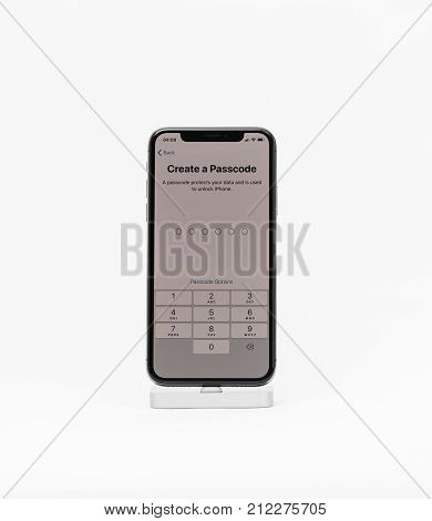 Paris France - Nov 5 2017: New Apple Iphone X 10 Smartphone Isolated White Background Create A Passc