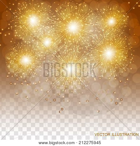 Brightly Colorful Fireworks. Holiday fireworks background. Transparent illustration of Fireworks.
