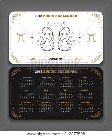 Gemini 2018 year zodiac calendar pocket size horizontal layout Double side black and white color design style vector concept illustration.