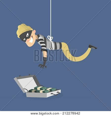 Stealing the money. Thief in mask above th case with money.