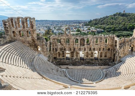 Herodes Atticus ancient theater in Acropolis of Athens Greece