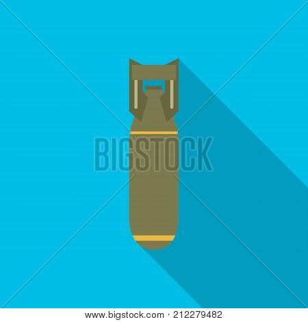 Bomb icon with long shadow. Flat design style. Bomb simple silhouette. Modern minimalist icon in stylish colors. Web site page and mobile app design vector element.