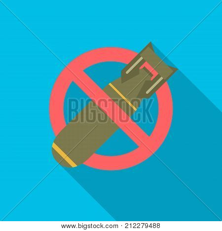 Stop bombing icon with long shadow. Flat design style. No bomb simple silhouette. Modern minimalist icon in stylish colors. Web site page and mobile app design vector element.