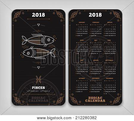 Pisces 2018 year zodiac calendar pocket size vertical layout Double side black color design style vector concept illustration.