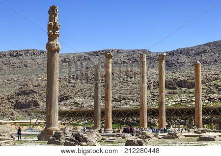 Fars Province Shiraz Iran - 20 april 2017: Columns of Apadana Palace in ancient persian Persepolis city.