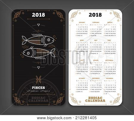 Pisces 2018 year zodiac calendar pocket size vertical layout Double side black and white color design style vector concept illustration.