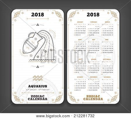 Aquarius 2018 year zodiac calendar pocket size vertical layout Double side black and white color design style vector concept illustration.