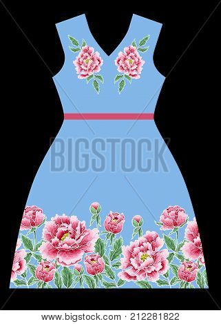 Vector dress design with chrysanthemum and lacing. An example of the pattern of the dress mock up.