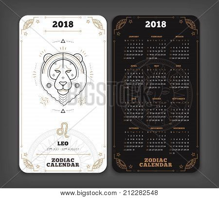 Leo 2018 year zodiac calendar pocket size vertical layout Double side black and white color design style vector concept illustration.