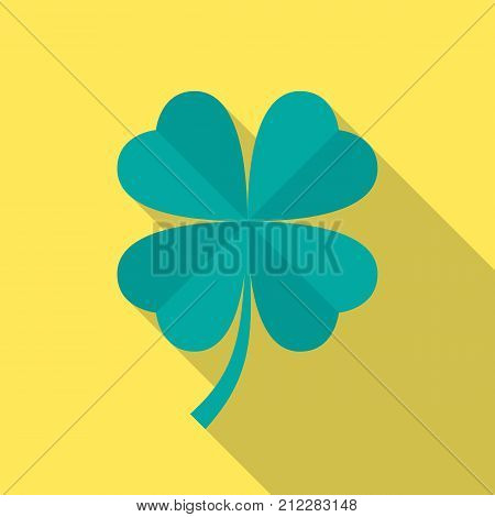 Four leaf clover icon with long shadow. Flat design style. Clover simple silhouette. Modern minimalist icon in stylish colors. Web site page and mobile app design vector element.