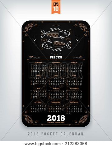 Pisces 2018 year zodiac calendar pocket size vertical layout Black color design style vector concept illustration.