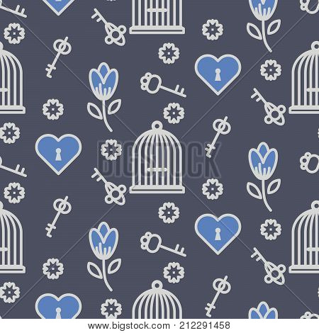 Bird cage romantic seamless vector pattern. Birdcage white and blue dark repeat background for card, invitation and paper.