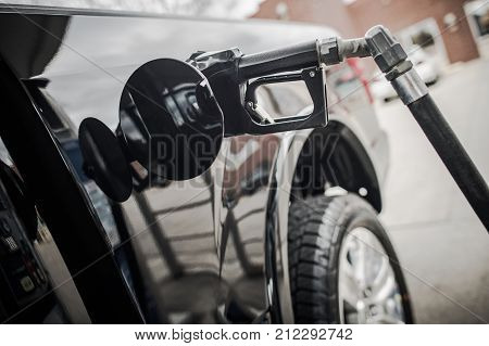 Pickup Truck Refueling and Gas Prices Concept. Transportation Theme.