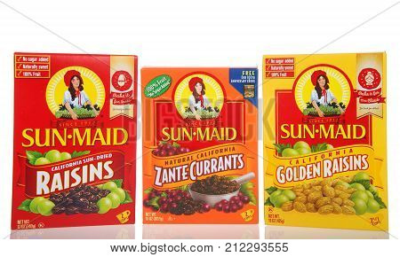 Alameda CA - November 03 2017: Boxes of Sun Maid brand Raisins Zante Currants and Golden Raisins. Sun-Maid is the largest raisin and dried fruit processor in the world.