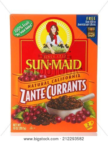 Alameda CA - November 03 2017: One box of Sun Maid brand Zante Currants. Sun-Maid is the largest raisin and dried fruit processor in the world.