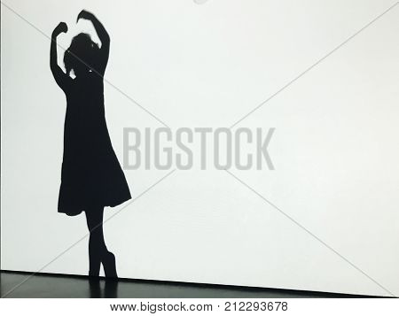 Silhouette Of A Little Girl At Ballet Lesson