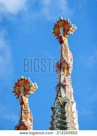 Barcelona Spain - April 11 2009: Two of the spires of Sagrada Familia in Barcelona - Spain.