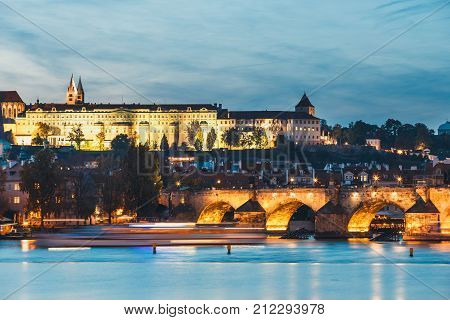View Of Historical Center Of Prague Durin Beautiful Sunset With Castle, Hradcany, Czech Republic