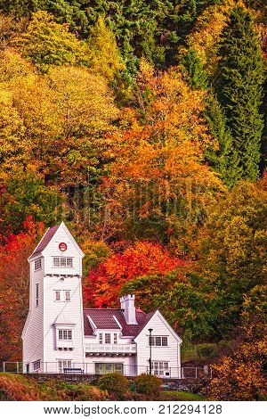 The old Skansen Battalion Fire Station building in Bergen in autumn, Norway