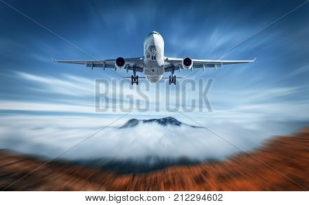 Aircraft Mith Motion Blur Effect Is Flying Over Low Clouds