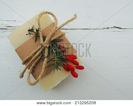 Handmade spa soap on vintage wooden background. Soap making. Soap bars. Spa, skin care.