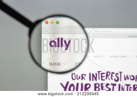 Milan, Italy - August 10, 2017: Ally Bank Website Homepage. It Is A Bank Holding Company Headquarter