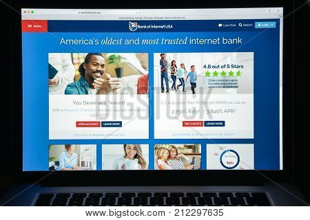 Milan, Italy - August 10, 2017: Bank Of Internet Usa Website Homepage. It Is A Direct Bank. Bank Of