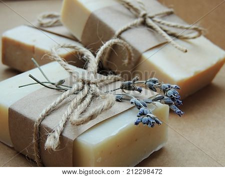Handmade spa soap on dark background. Soap making. Soap bars. Spa, skin care.