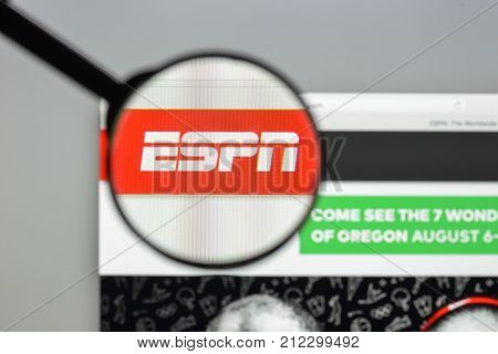 Milan, Italy - August 10, 2017: Espn Website Homepage. It Is A U.s.-based Global Cable And Satellite