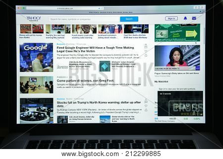 Milan, Italy - August 10, 2017: Finance Yahoo Website Homepage. Finance Yahoo Logo Visible.