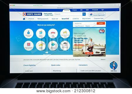 Milan, Italy - August 10, 2017: Hdfc Bank Limited Website Homepage. It Is An Indian Banking And Fina